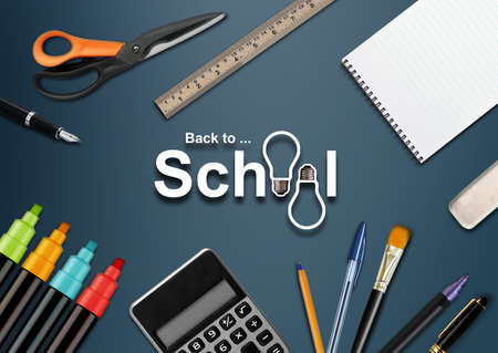 background stationary: Welcome Back to school background .