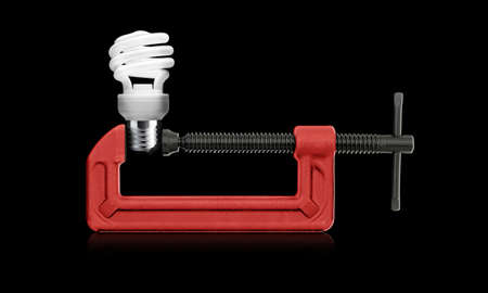 movable jaw: horizontal hand vise c-clamp  and bulb light idea  (with clipping work path)