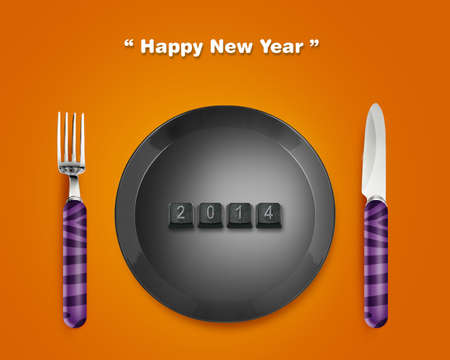 Happy new year 2014, keyboard buttons in plate with 2014 numbers with Fork and knife. Stock Photo - 24050357