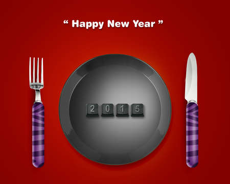 masterly: Happy new year 2015, keyboard buttons in plate with 2014 numbers with Fork and knife, the same concept available for 2015 year. Stock Photo