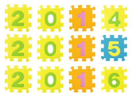 Happy new year 2014,2015, 2016 made from educational puzzle pieces photo