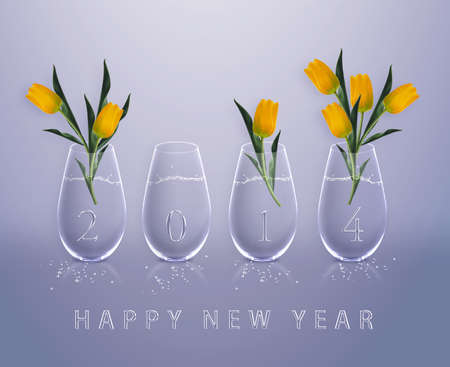 New year 2014 Calendar with conceptual image of yellow tulips in glass vases, the same concept available for 2015, 2016 and 2017 year. photo