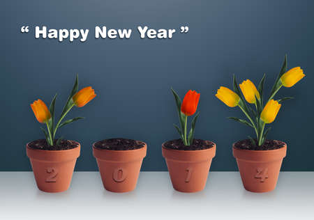 Happy new year 2014, Group of yellow tulips in clay container. photo