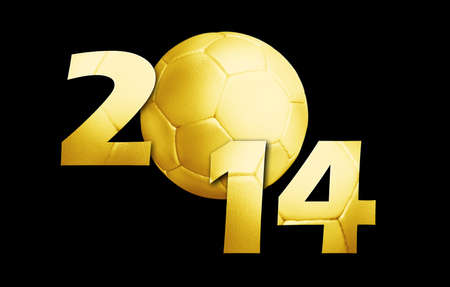 Happy new sport year 2014 with Golden Football on black. (work path included) photo