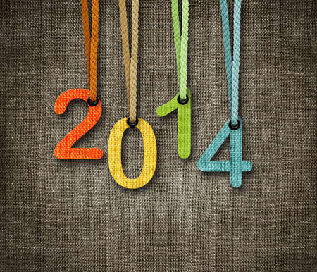 Happy New year 2014,  numbers hunging by rope as puppeteer on sackcloth background, the same concept available for 2015 and 2016. photo