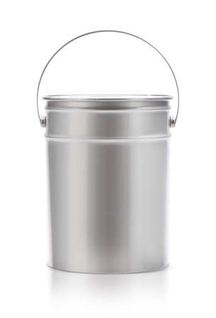 Metal painting Pail isolated on white, (clipping work path included). Фото со стока