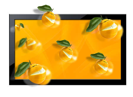 tv panel: Black LCD tv screen with  three dimentional view.  (with clipping work path)