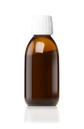 Medicine bottle of brown glass or Plastic isolated on white background, (clipping work path included). photo