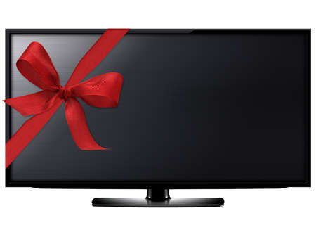 Black LCD tv screen hanging on a wall with red ribbon.  (with clipping work path)