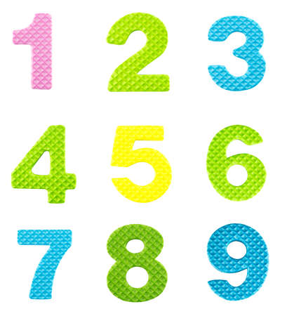 Numbers from one to nine, Alphabet isolated on white background  photo