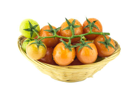 fresh cherry tomatoes with water drops. (clipping work path included) photo