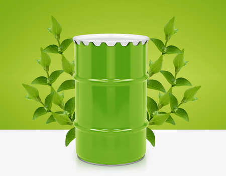 environmentally friendly: Green barrel of bio fuel, environment conceptual design.