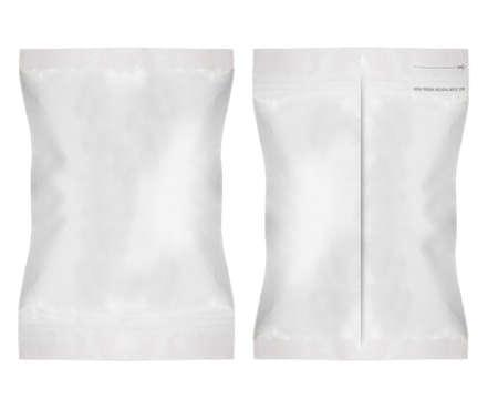bolsita: Blanco blanco Embalaje Foil Food Bag Para Pimienta, Especias, Sachet, Chips. Pl�stico Paquete de Plantilla listo para su dise�o. (Con el trabajo camino de recorte) Foto de archivo