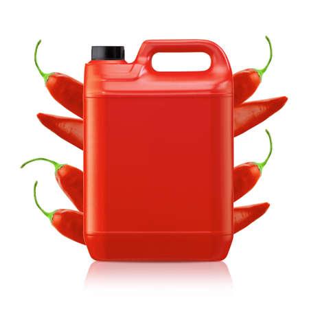 gallon: Hot chili pepper sauce in plastic gallon on a white background