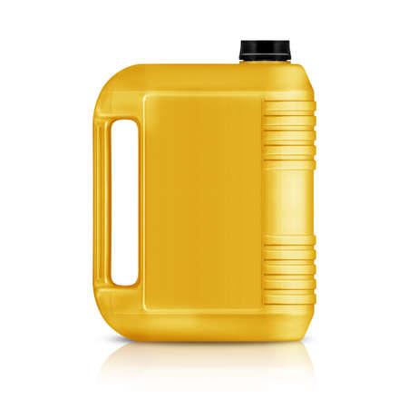 Yellow plastic gallon, jerry can  isolated on a white background. photo