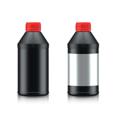 Black Oil Bottle isolated on white background.  photo