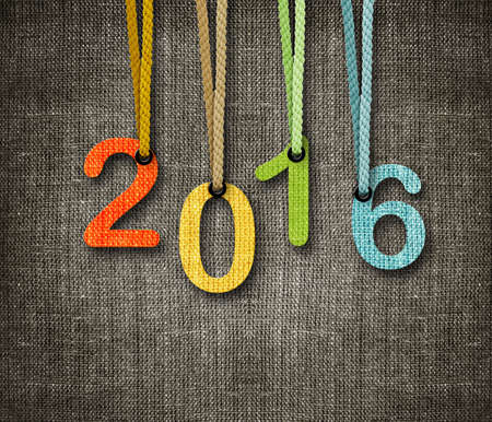wish: Happy New year 2016,  numbers hunging by rope as puppeteer on sackcloth background.