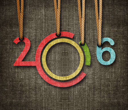 Happy New year 2016,  numbers hunging by rope as puppeteer on sackcloth background.