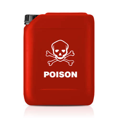 milk jugs: Red plastic gallon, jerry can with poison sign  isolated on a white background.