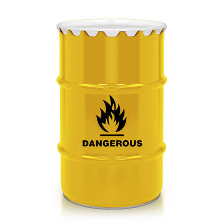 Golden plastic barrel with flammable sign isolated on a white background.  (with clipping work path) photo