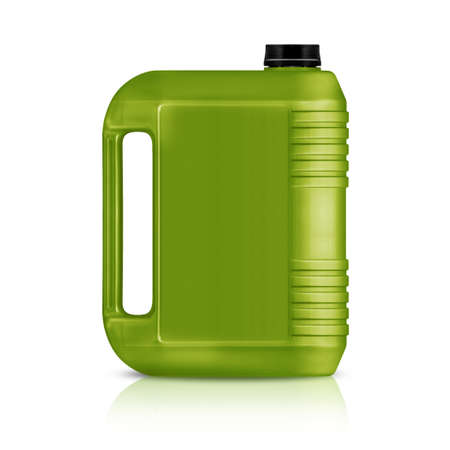 Green plastic gallon, jerry can  isolated on a white background.    photo