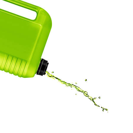 opened plastic gallon, jerry can with splash  isolated on a white background.  (with clipping work path) photo