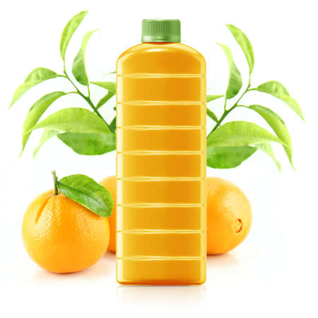 Orange juice in a plastic container jug with fresh orange and leaves on a white background.  photo