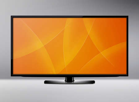 plasma monitor: Black LCD tv screen hanging on a wall .  (with clipping work path)