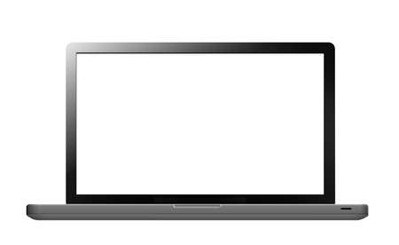 Laptop with blank screen isolated on white. Can be used with custom images.    photo