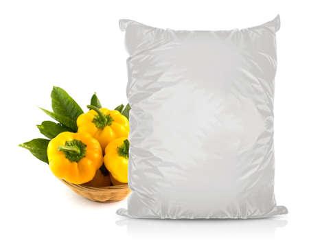White Blank Foil Food Bag Packaging For Pepper, Spices, Sachet, Chips.      photo