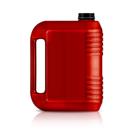 storage tank: Red plastic gallon, jerry can  isolated on a white background.