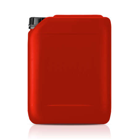 Red plastic gallon, jerry can  isolated on a white background.    photo
