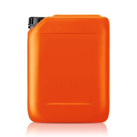 orange industry: Orange plastic gallon, jerry can  isolated on a white background.   Stock Photo