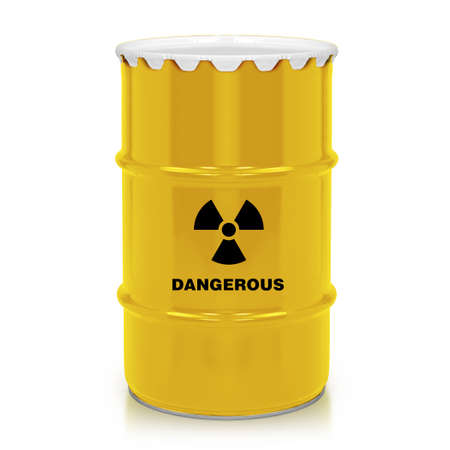 Golden plastic barrel with dangerous sign isolated on a white background.    photo