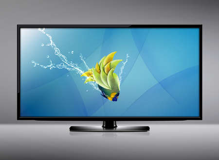 Black LCD tv screen and fish with water splash .