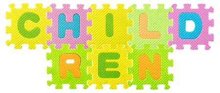 Children word created from Alphabet puzzle i  photo