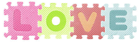 Love word created from Alphabet puzzle   photo