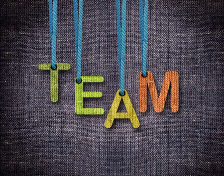 team spirit: Team Letters hanging strings with blue sackcloth background.
