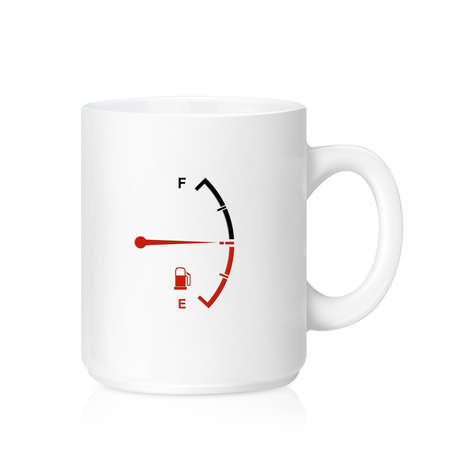 White ceramic mug with Fuel Meter  photo