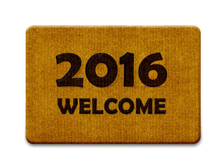 straw mat: Happy new year 2016, welcome doormat carpet isolated on white. (clipping path included)
