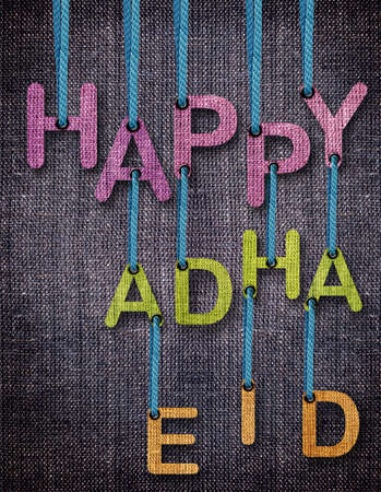Happy Adha Eid Letters hanging strings with blue sackcloth background.