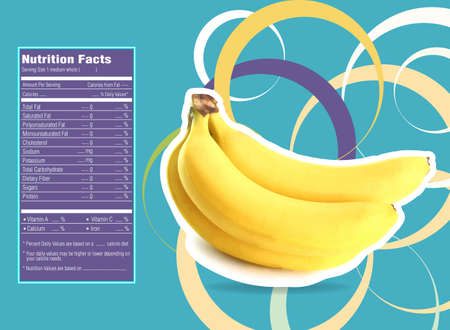 facts: Creative Design for Banana with Nutrition facts label.
