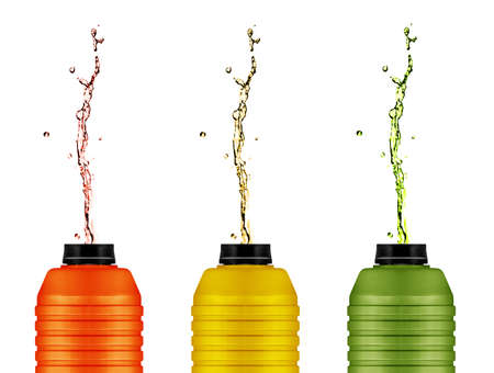 reusable: energy drinks cans,  reusable water and energy bottle on white .   Stock Photo