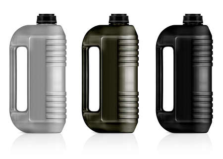 motor oil: White, gray, black plastic gallon, jerry can  isolated on a white background.