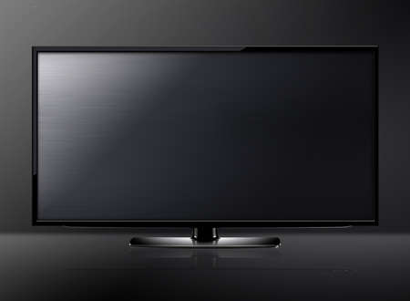 Black LCD tv screen hanging on a wall .   photo