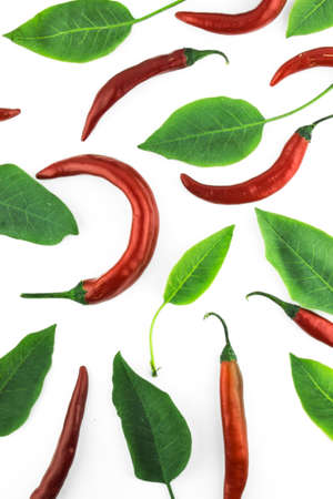flavorings: red hot chili pepper with leaves on a white background
