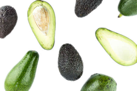 Black Ripe Avocados with leaves. photo