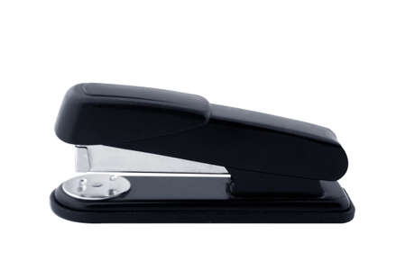 staplers: Black professional stapler isolated on white background Stock Photo