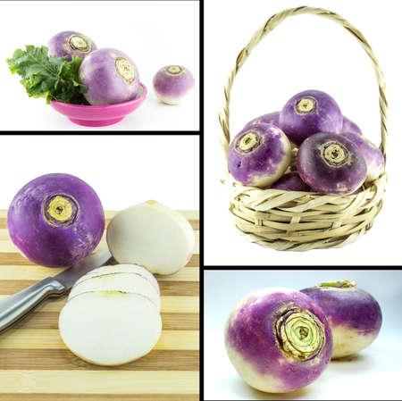 Healthy and organic food, Set of fresh purple headed turnips . photo