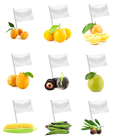 Healthy and organic food concept. Set of fresh fruits and vegetables with flag showing the benefits or the price of fruits. photo